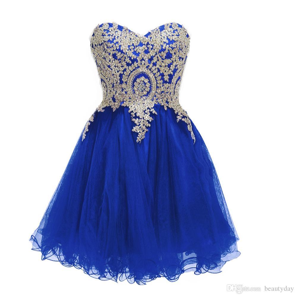Azul real Vestidos de fiesta cortos de baile Vestido de regreso a casa Una línea de apliques dorados de encaje Tul Negro borgoña azul marino Cuentas Cristales Cóctel de fiesta