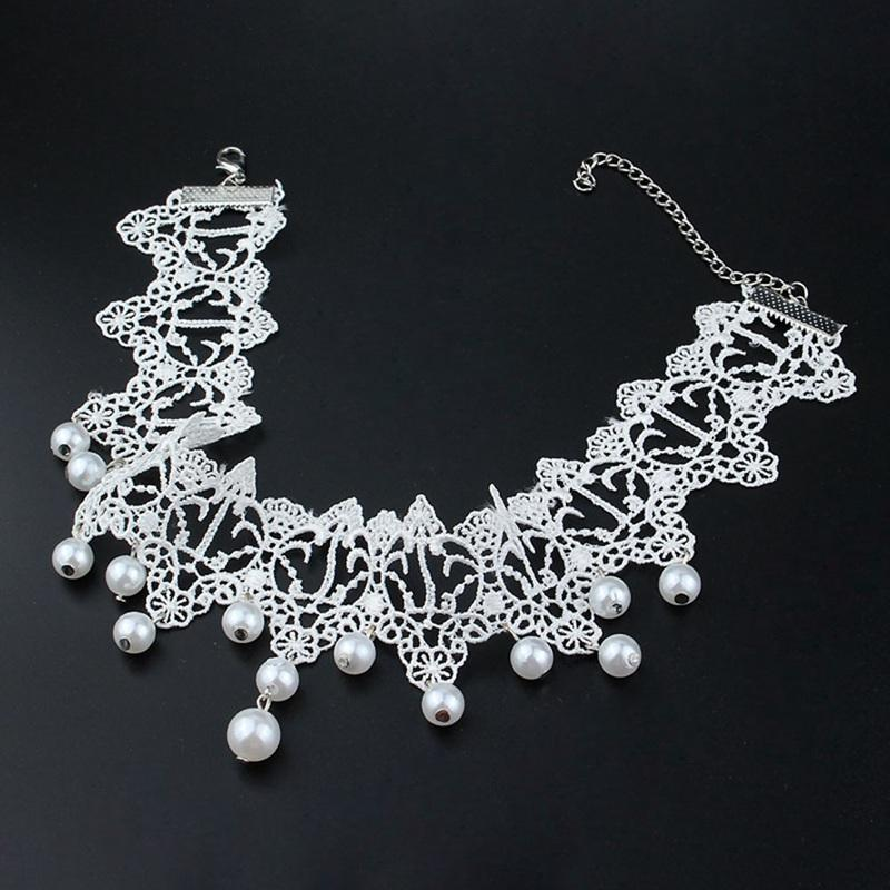 New Fashion Elegant Vintage Imitation Pearl White Lace Statement Choker Necklaces Bridal Jewelry For Women Wedding