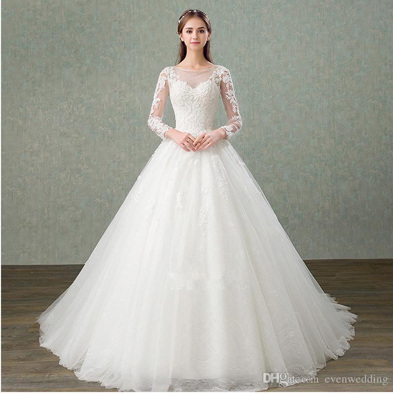Bateau Neck Tulle Long Sleeves와 라인 웨딩 드레스 2019 레이스 Appiques 웨딩 가운 레이스 위로