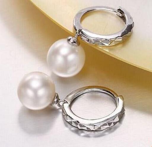 Paio di orecchini in argento S925 tondi perlati bianchi e blu del mare di 10-11mm