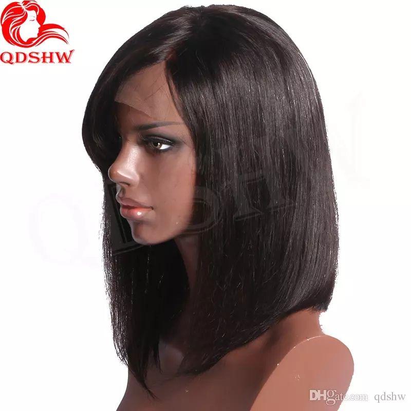 Großhandel Peruanisches Menschenhaar Bob Perücken Seite Pony Glueless Jungfrau Kurze Frisuren Lace Front Menschenhaar Bob Perücken Pony Für Schwarze