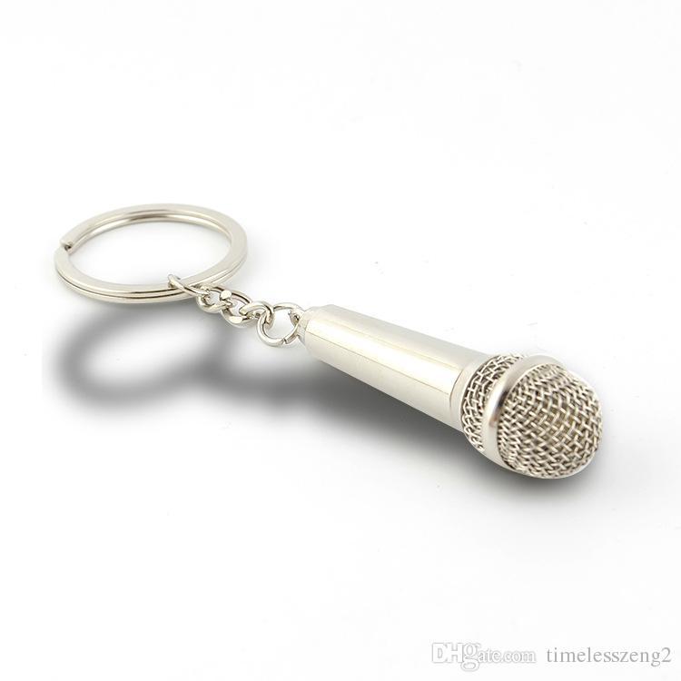 Nova chegada microfone chaveiro Moda pode esconder as cartas de amor confissão chaveiro Criativo 3D de metal microfone keychain