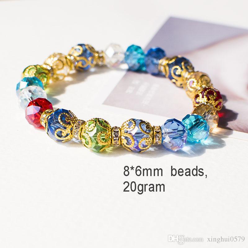 donne cristallo perline 2018 Trendy trasferimento di gioielli fortuna braccialetto viola Chakra Yoga perline di cristallo 8mm pietra naturale perline bracciali