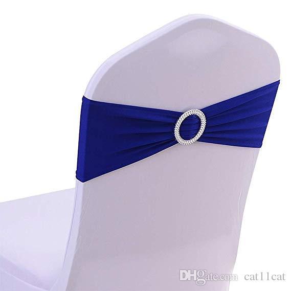 Chaise Spandex Jupettes Bows Chaise Bandeaux élastiques avec boucle Curseur Jupettes Bows pour les décorations de mariage sans blanc Couvre bleu royal ROUGE