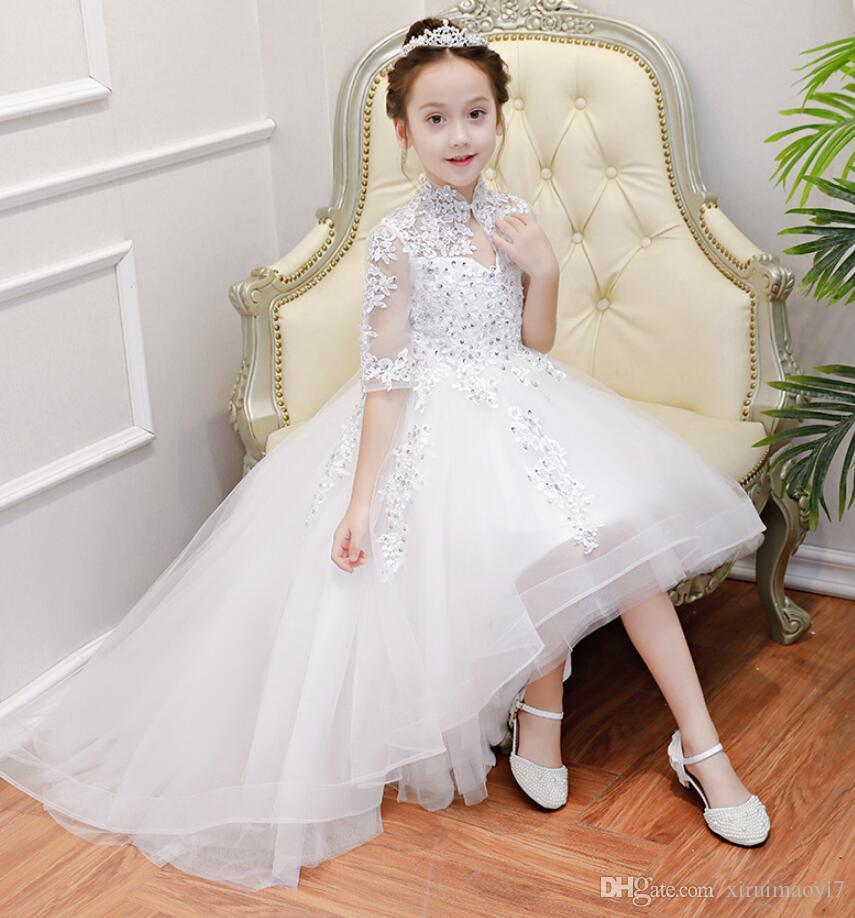 Longue Trailing blanc Tulle petites filles Pageant robes de soirée de mariage de demoiselle d'honneur vacances anniversaire dentelle perlée robes de demoiselle