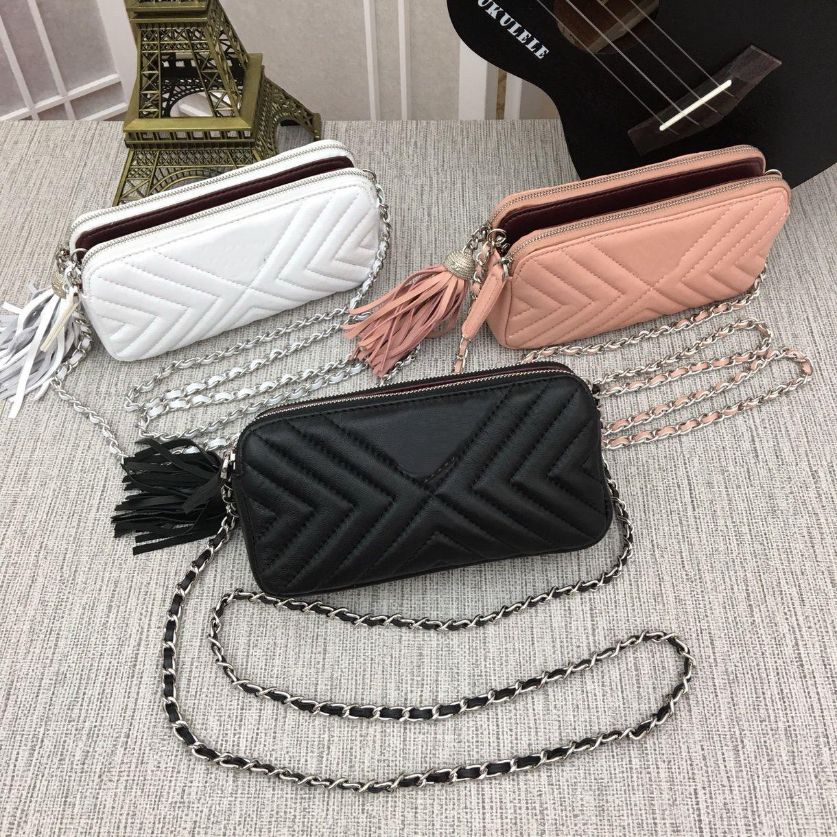 Women's handbags Genuine Leather Lambskin 8032A Shoulder Bags Le Boy Flaps V Silver chain Have dust bag 231 Wallets