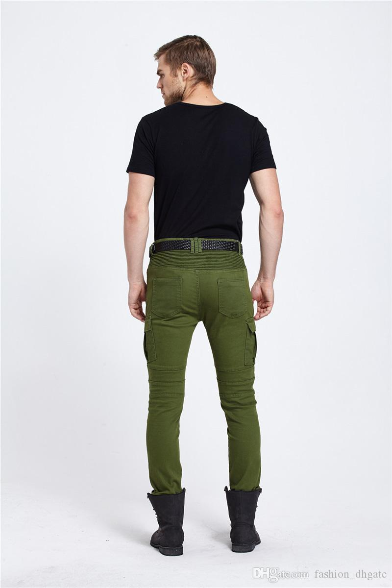 great deals high quality fashion style 2019 Army Green Biker Jeans Men Skinny Cargo Jeans With Side Pockets 2017  Mens Denim Pants Casual Slim Fit Zipper Motorcycle Jeans Homme From ...