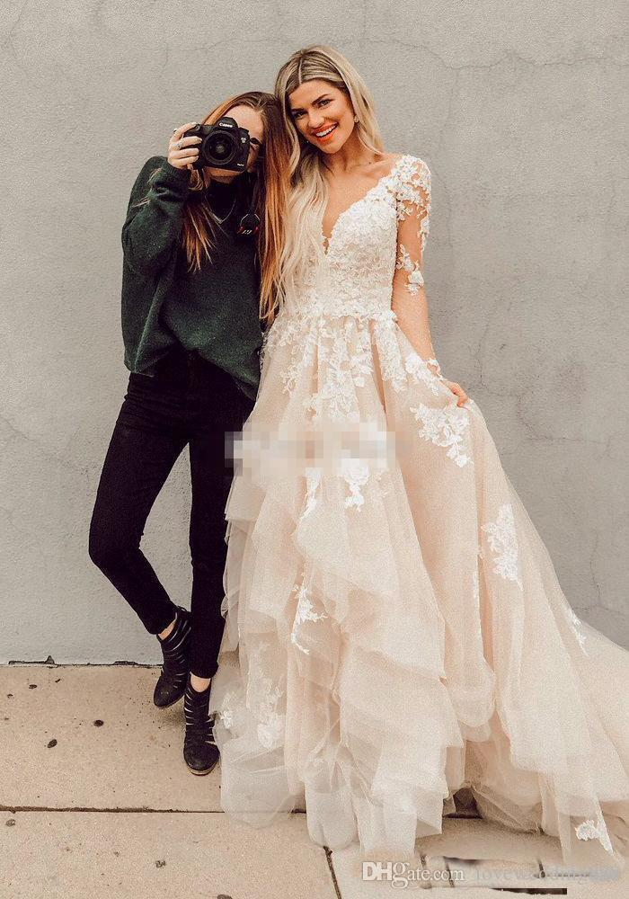 2019 Blush Boho A Line Lace Wedding Dresses Illusion Long Sleeves Layered Tulle Appliques Bridal Gowns Rustic Country Custom Made