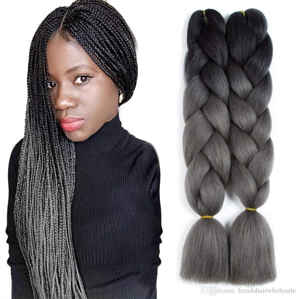 100% Kanekalon Jumbo Oplatanie Rozszerzenia włosów Kanekalon 48 cali 100 G / Paczka Afrykańskie oplatanie włosów Syntetyczne szydełkowe warkocze fryzury