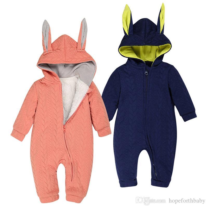 2018 Kış Bebek Tulum Kız Pamuk Kapüşonlu Tulumlar Kız Bebek Bebek Romper Uzun Kollu Tulumlar Sunsuit Çocuk Giyim