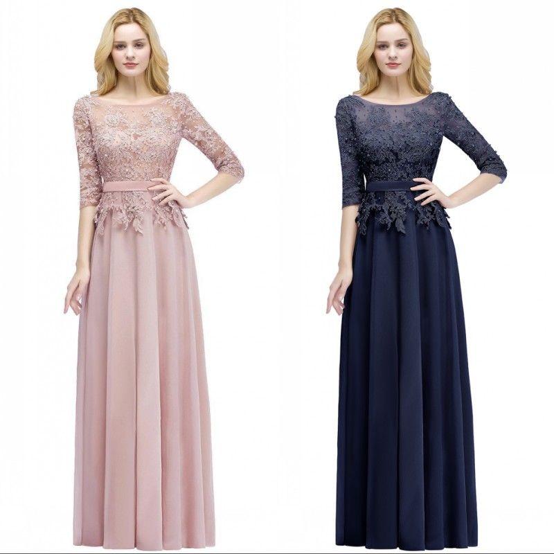 Neue Vintage Sheer Half Ärmel Mutter der Braut Bräutigam Kleider Perlen Appliziert Günstige Hochzeits-Party Kleider Abend Prom Formal CPS915