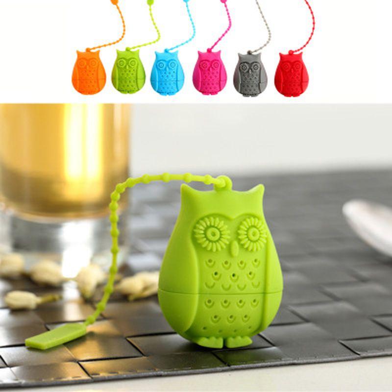 2016 Sıcak Satış Baykuş Çay Poşetleri Çay Strainers Silikon Çay kaşığı demlik Silika Jel Filtrasyon kahve çay demliği Filtre