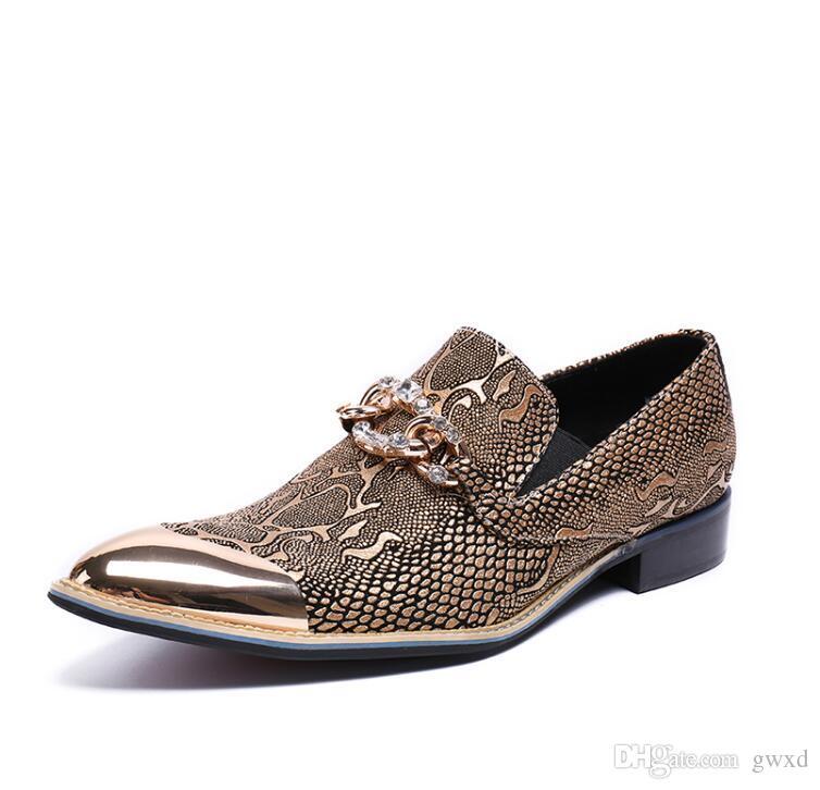 2018 neue Art-Abend-Partei-Hochzeits-Schuh-Mann-Frühlings-Müßiggänger-Marken-Ebenen-Leder-Beleg auf formalen Absatz-Mens-Kleid-Schuhen G174