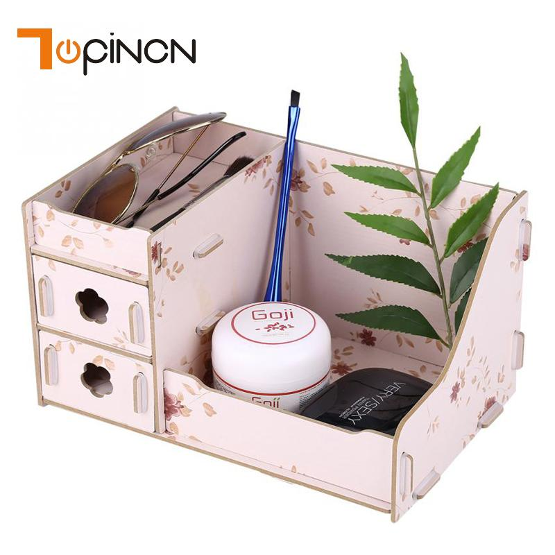 Wooden Storage Box Makeup Organizer Case Handmade Jewelry Container DIY Assembly Cosmetic Organizer Wood Box For Office