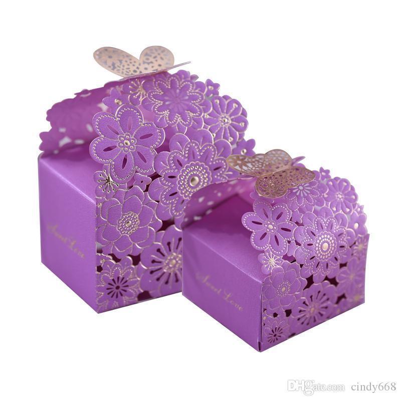 30 adet / grup Çiçek Desen Çikolata Kutuları Hollow Düğün Şeker Saklama Kutusu Kağıt Hediyeler Ambalaj Düğün Malzemeleri Şeker Organizatör Teneke Kutular