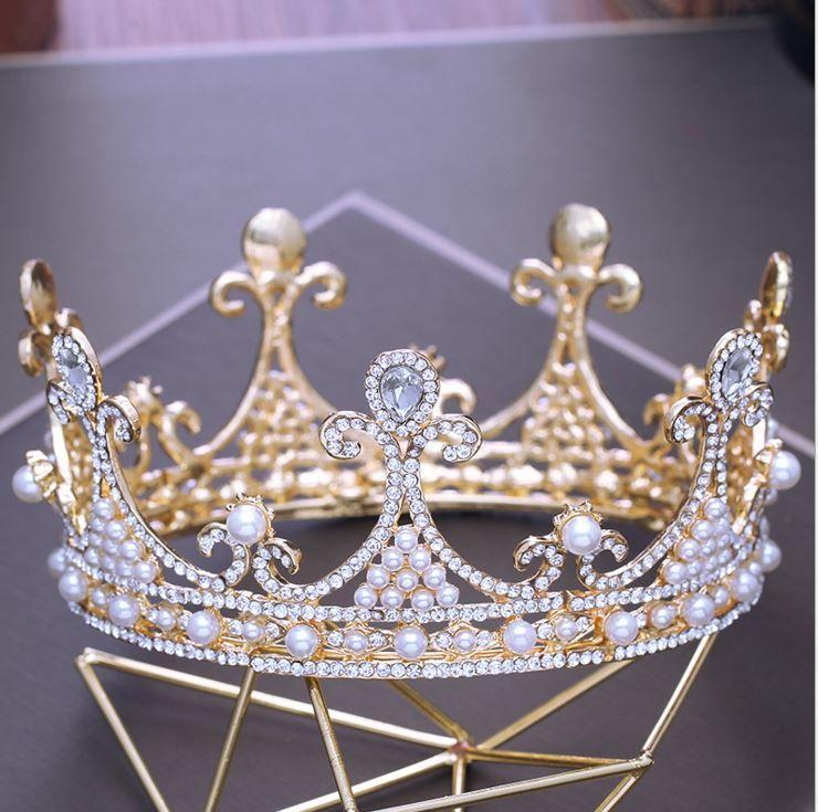 Corona di copricapo da sposa d'oro barocca, corona circolare con diamante Princess Diamond, accessori abito da sposa, vendita diretta in fabbrica