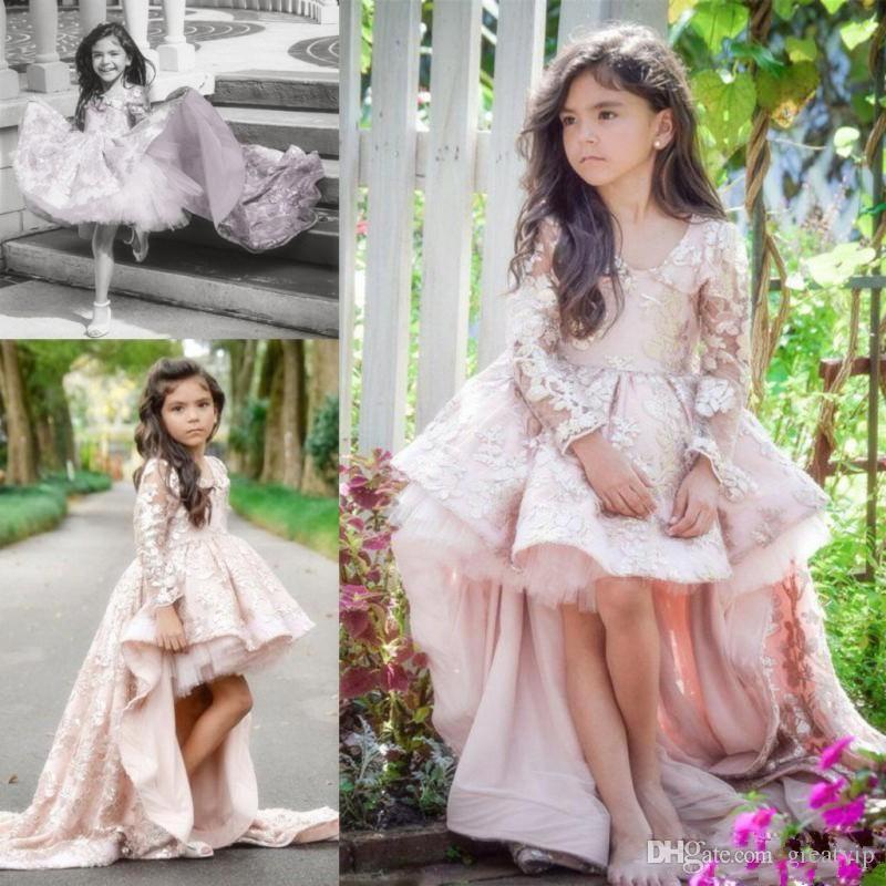 2019 Abiti da ragazza di fiore rosa carino per bambini da sposa Maniche lunghe alte basse Increspature Abiti da ballo di sfilata Abiti da festa