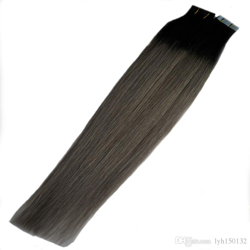 "18"" 20""22"" 24"" Ash Blonde Hair Extensions T1B/Gray Remy Ombre Hair Extensions Tape 100g Remy Skin Weft Hair Ombre 40pcs Tape Extensions Grey"