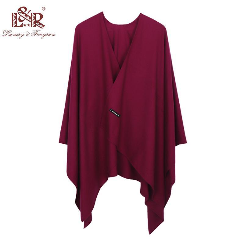 2018 New Fashion Cashmere Inverno Donna Poncho Sciarpe Donne Scialle solido Cape Foulard Femme Pashmina Femmina Bufanda Mujer Sjaal D18102406