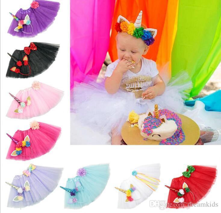 Kızlar Tutu Elbise Fantezi Gökkuşağı Prenses Pony Unicorn Elbise Kafa Ile Noel Cadılar Bayramı Kostüm Çocuklar Kız Parti Elbise