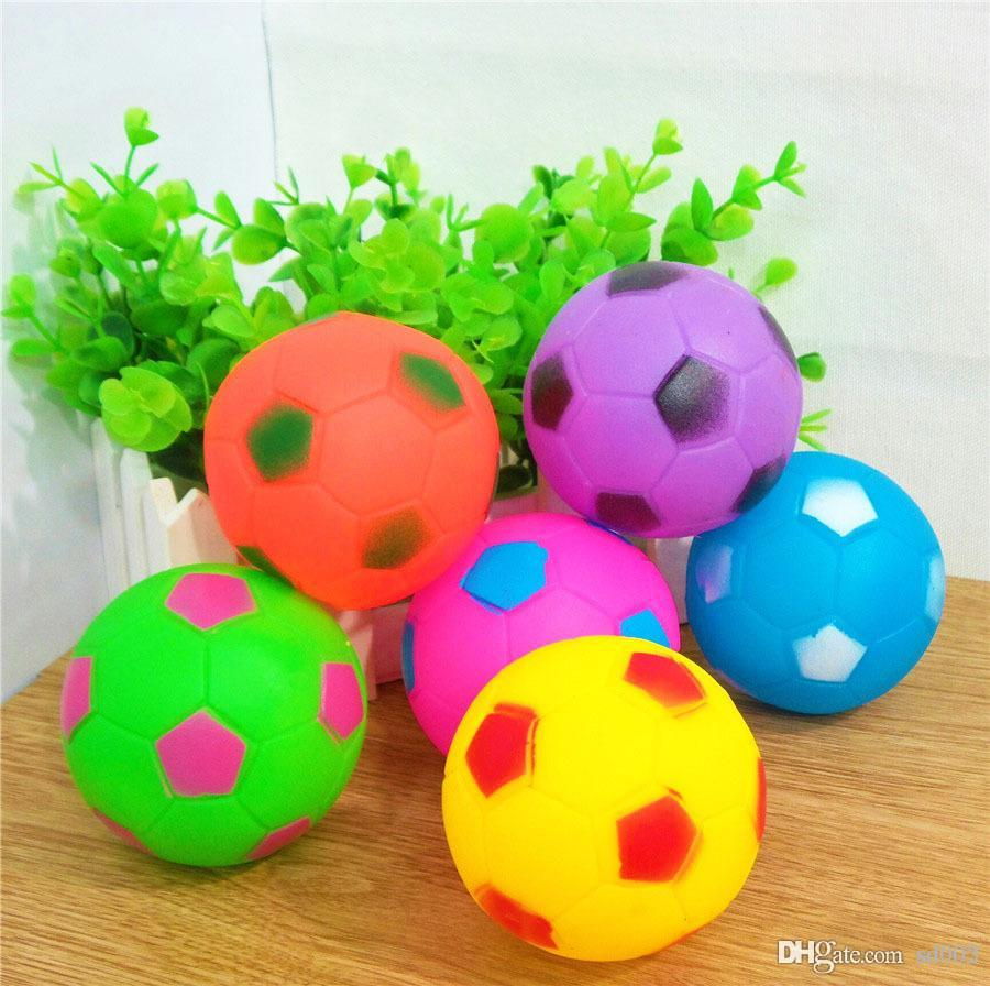 Colorful Puppy Sound Ball Bite Resistant Pet Teethers Molar Toys Teeth Care Round Football Dogs Chews Balls Teething Toy Portable 1jc ZZ