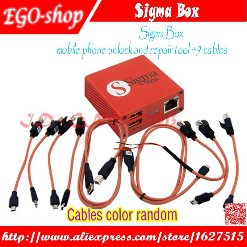 vendita all'ingrosso Sigma Box telefono cellulare di sblocco e riparazione strumento per Nokia ZTMotorola per MTK Huawei (9 cavi) (versione base)