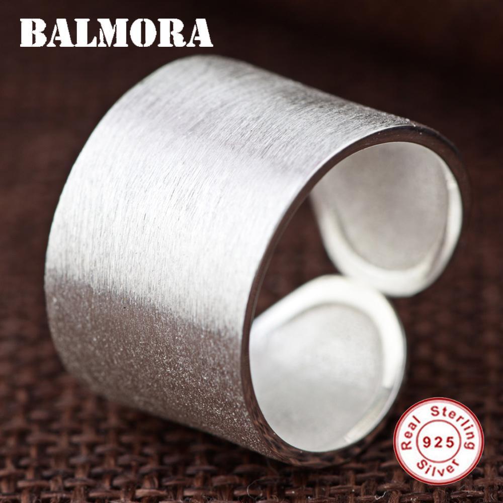BALMORA Katı 925 Ayar Gümüş Açık Yüzükler Kadın Erkek Severler Hediyeler için Gümüş Yüzük Klasik Moda Takı SY20212 D18111306