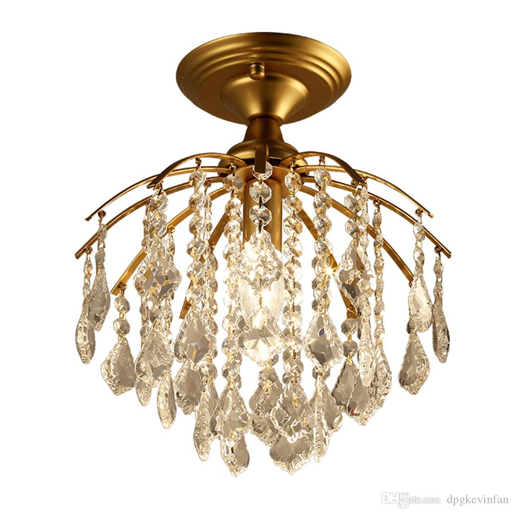 Luxury Vintage Design E14 K9 Crystals Gold Iron Led Pendant Lighting Fixtures for Loft Bar Staircase Living Room Bedroom Home Lamp