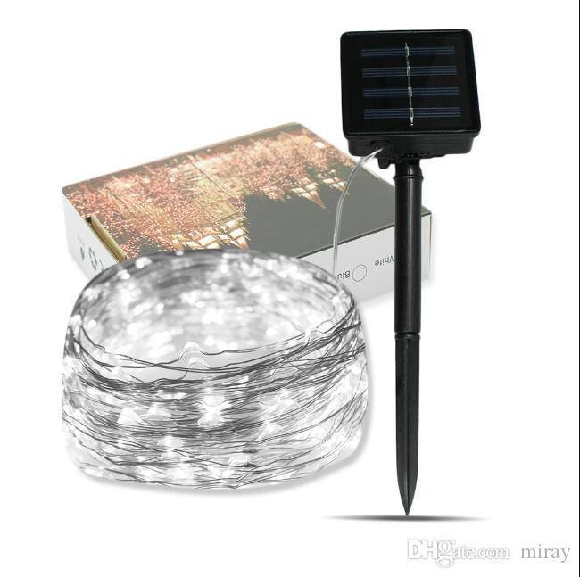 새로운 태양열 구리 와이어 문자열 태양 크리스마스 장식 램프 문자열 (10 미터 100 조명) 안뜰 조명을 삽입