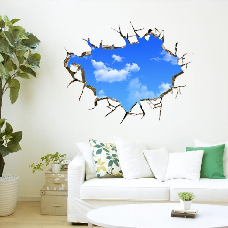 Wall Stickers Through Wall Blue Sky White Clouds Removable Landscape Wall Decals Ceiling Nursery Kids Room Decoration Art Poster