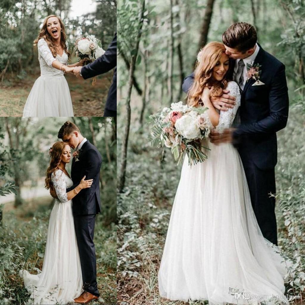Bohemian Lace Top Sheer Long Sleeves Country Wedding Dresses Chiffon V Neck Bridal Dress Sexy Backless Wedding Gowns Cheap Vestidos de novia