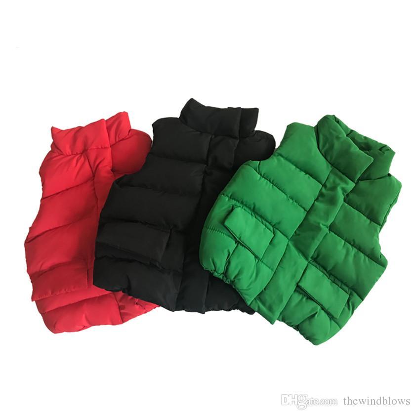 가을 겨울 소년 소녀 조끼 재킷면 조끼 아이 코튼 조끼 아기 조끼 솔리드 싱글 브레스트 레드 블랙 핫