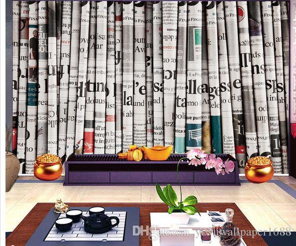 peintures murales photo personnalisées 3D rétro journal fond mur papier peint cascade 3d