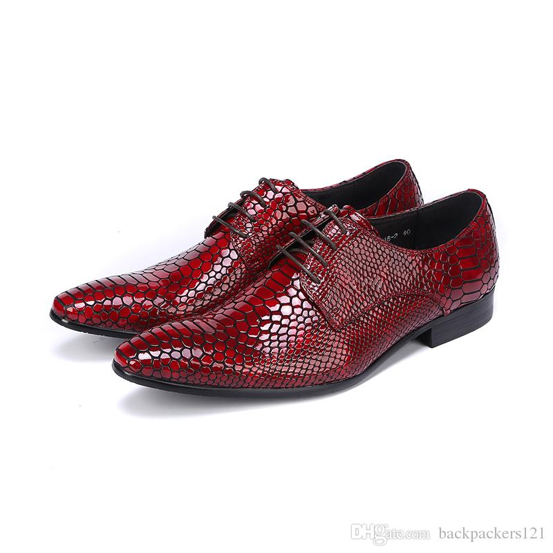 Classic Snake Lace Up Men Dress Shoes Genuine Leather Red Black Formal Office Business Man Suit Footwear Party Sapato Masculino