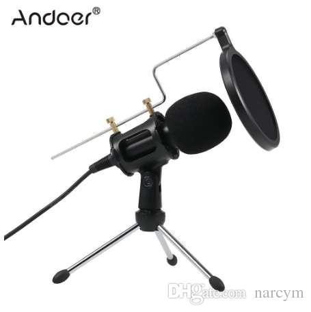 3.5mm Microfone Condensador Plug Mic Play Home Studio Podcast Microfones de Gravação Vocal para iPhone Portátil PC Tablet Microfone