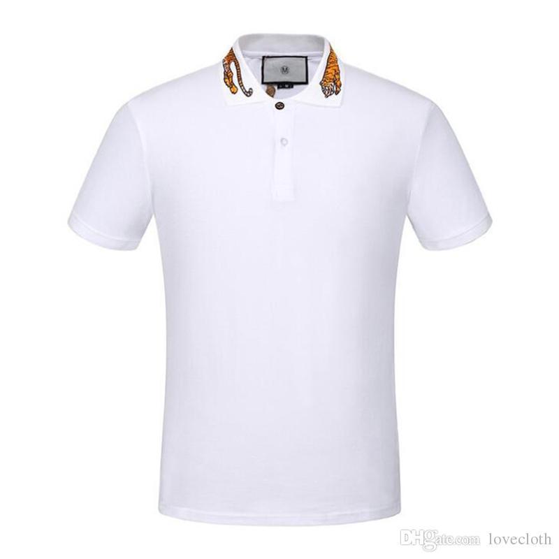 1e5377700 Compre Moda Masculina Alta Bordado Amarelo Tiger Collar Camisa Polo Camisa  Hip Hop Skate Cotton Polos Top De Lovecloth