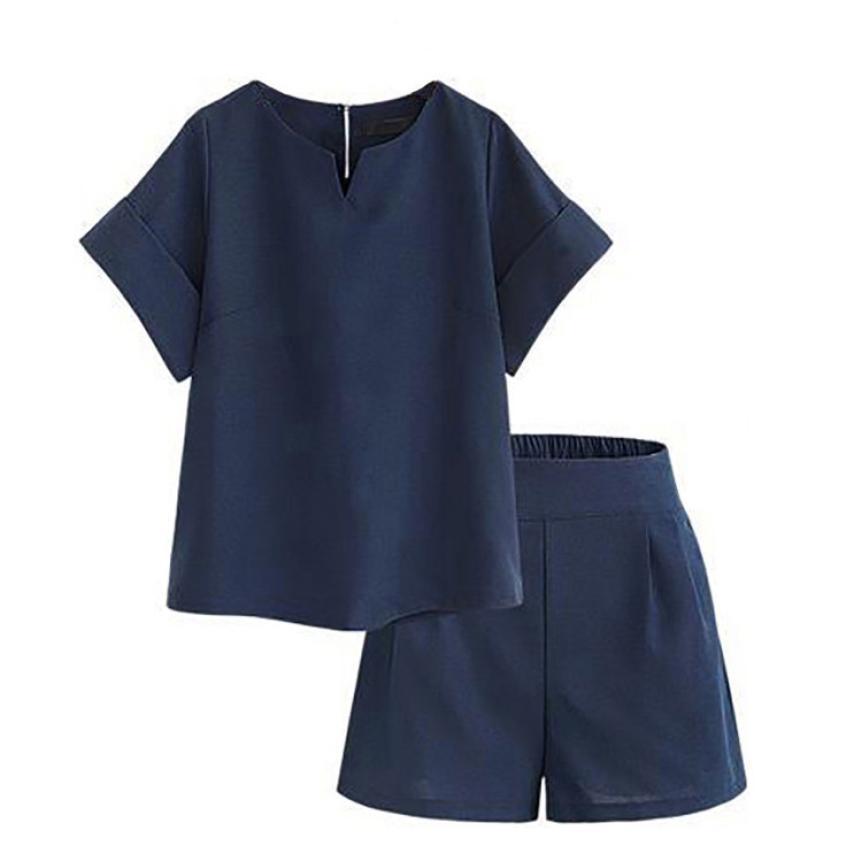 Deux-pièces de mode d'été femmes shorts t-shirt Lin grande taille XL-5XL chemise solide Tops + taille haute shorts ensembles pour femmes #F