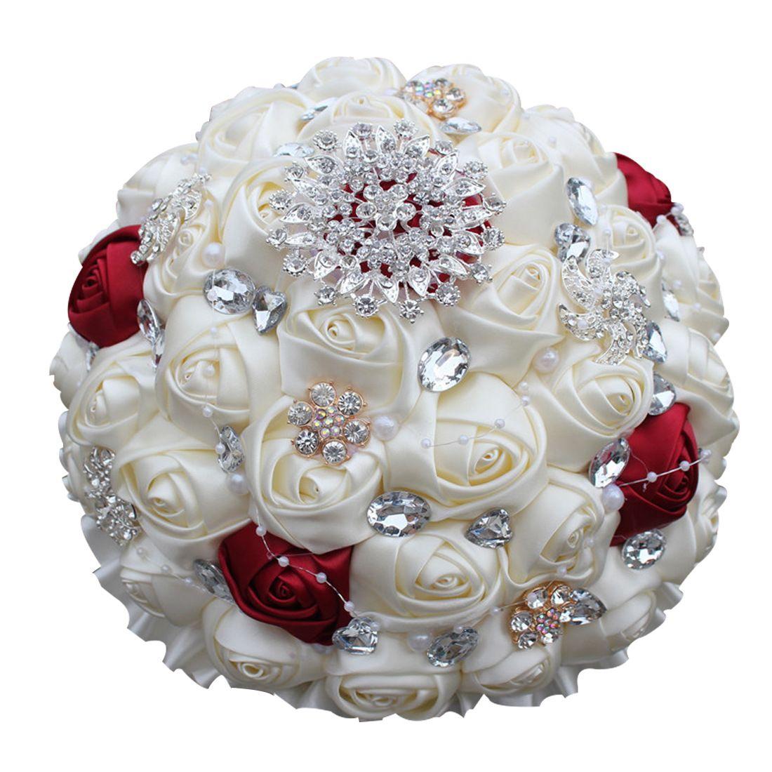 Bouquet Sposa Per Abito Avorio.Acquista Mazzi Di Fiori Artificiali Nastro Fatto A Mano Rose