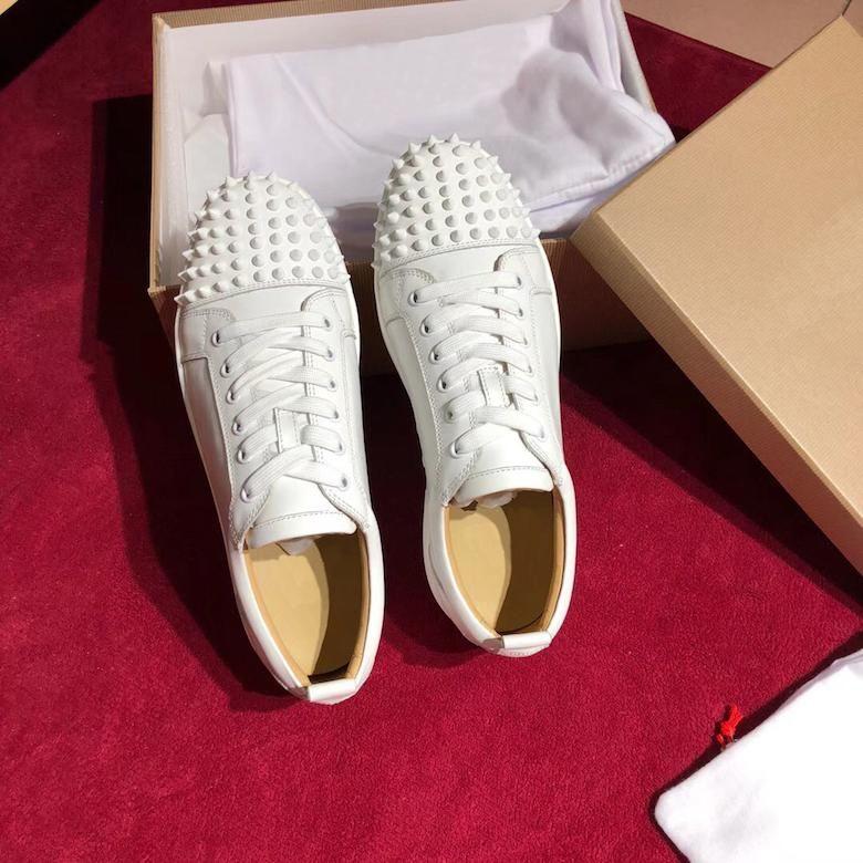 Moda Erkek Dikenler Flats ayakkabı Box ile Kadınlar Erkek Parti Aşıklar Gerçek Deri Spor Ayakkabılar için Alt Ayakkabı kırmızı