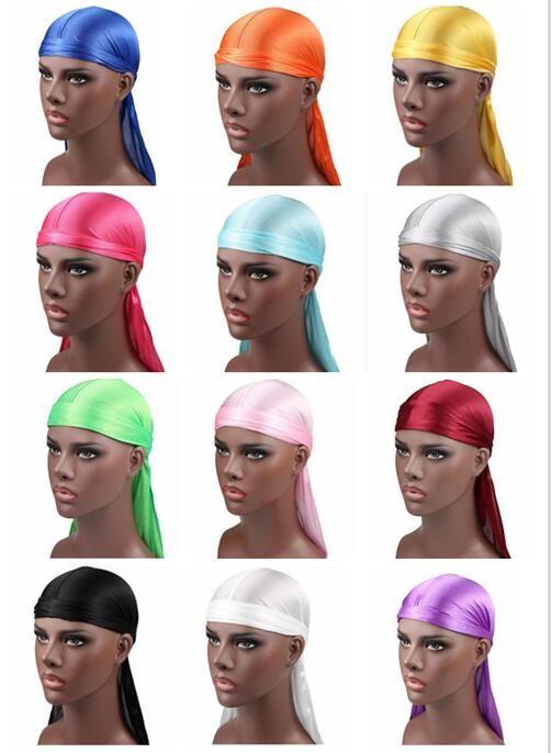 2018 Hot sale Men's Satin Durags Bandana Turban Wigs Men Silky Durag Headwear Headband Pirate Hat Hair Accessories