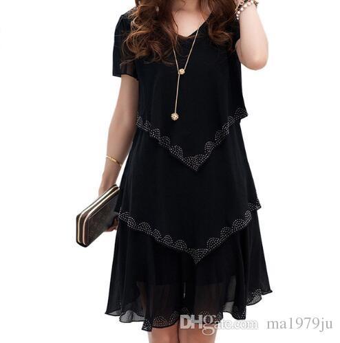 5xl plus größe frauen kleidung 2018 chiffon dress sommerkleider partei kurzarm casual vestido de festa blau schwarz robe femme