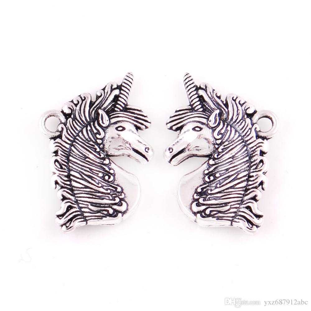 Trendy Antik Gümüş Kaplama Takı Unicorn Kolye Ortaçağ Unicorn Magick Aşk Muska