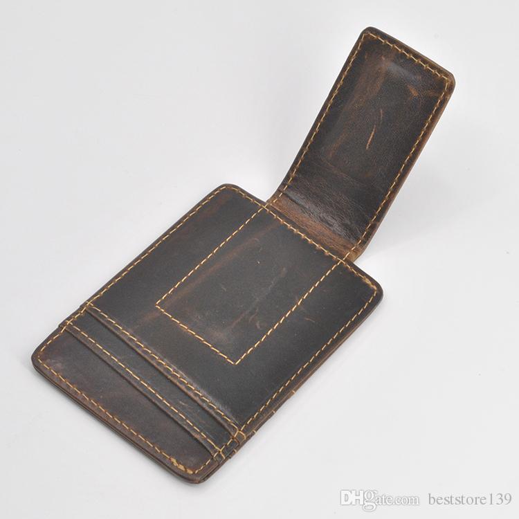 Brieftasche Halter Front Männer Heiße Geldbörse Clip Kaffee Verkauf Geldkredit Vintage Mode Rindsle Echtes Leder Kartasche FLADJ