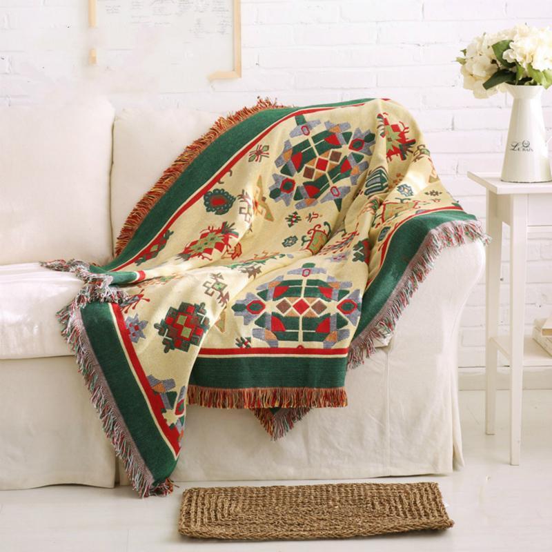 Alfombra decorativa de estilo bohemio / Toalla de sofá / Estilo pastoral Resbalón de tela de punto grueso Ropa de algodón grueso Manta de color geométrico artesanal