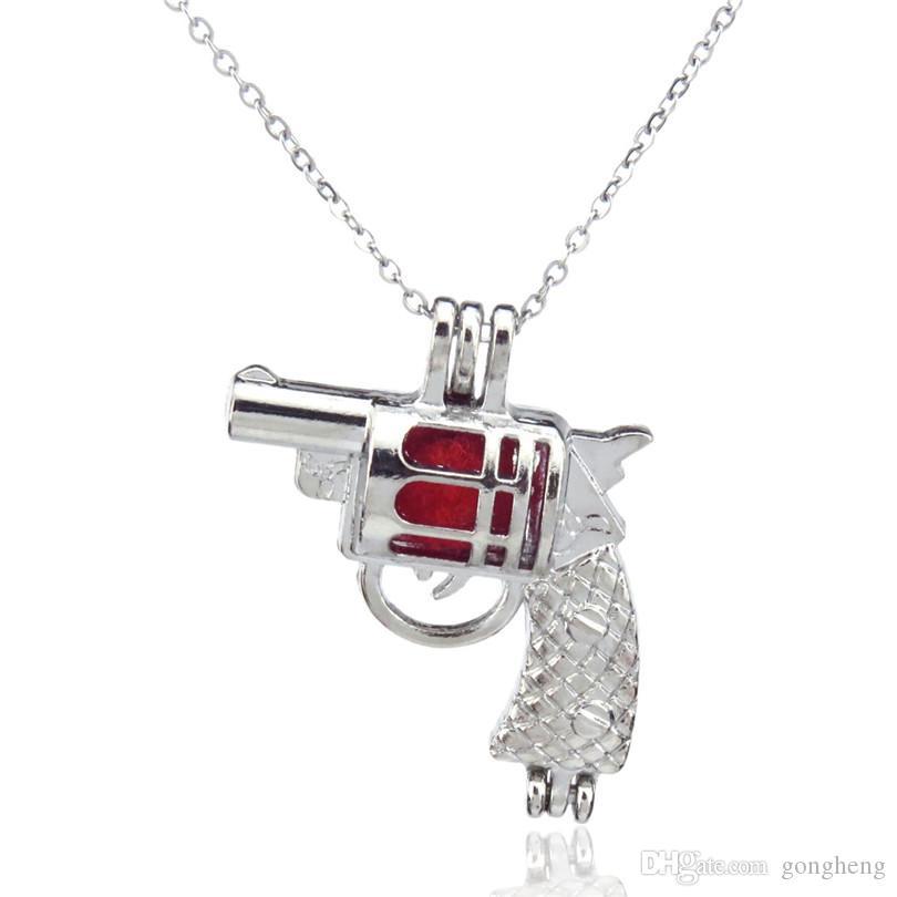 Argento divertente pistola pistola modello carino diffusore locket donne perline aromaterapia collana gabbia di perle ciondolo-regalo boutique