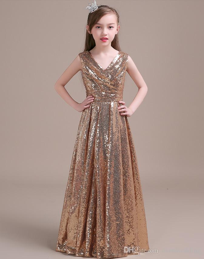 Paillettes d'or v cou robe de fille de fleur pour le mariage 2019 étage longueur robes robes nouvelles robes première communion