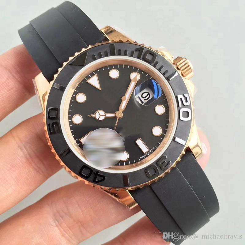Mens Watch 40 millimetri cinghia di gomma in oro rosa movimento meccanico automatico Acciaio Mens Orologi da polso maschile master
