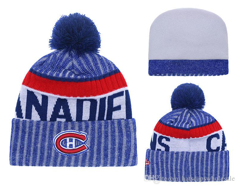 Top Quality Vintage Montreal Beanies with Funny Pom Logo Embroidered Classic Sport Hockey Winter Skullies Hat For Men and Women