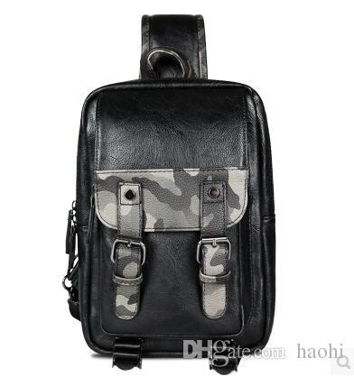 All'ingrosso della fabbrica borsa di marca moda camuffamento petto pacchetto esterno per il tempo libero in pelle borsa a tracolla in pelle borsa uomo personalità mimetica