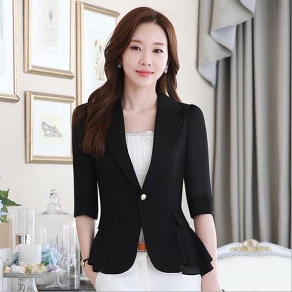 2019 2018 Short Style Female Summer Blazer Women Slim Fit Peplum Suit Jacket Short Sleeve Chiffon Blazers Coats Black Blue White Pink From Pingpo,